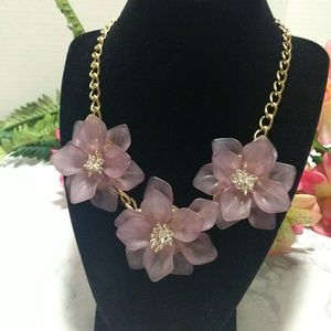 Jewelry - Purple Petal Flower Statement Necklace
